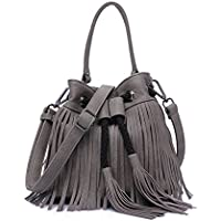Sheli Donna Nero Piccolo Gypsy Stile High-End stringa Tasseled PU crossboy Borsa Secchiello