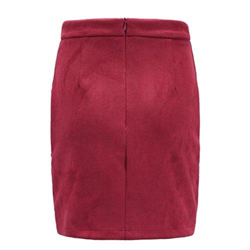 àbbigliamento donna, ASHOP Minigonna In Tessuto Scamosciato Fasciatura Donna Gonna Corta Stretta Elasticizzata Senza Cuciture Sottile Rosso