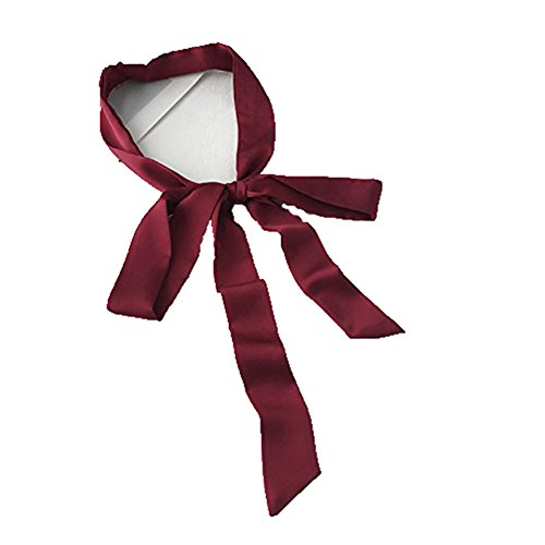 TIANLU Farbe Kleine Schal_Satin Kleines Seidentuch Sommer schmücken die Kleine Schmale Farbe Kleine Schal, Wein Rot, 175 cm