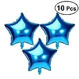 NUOLUX 10pcs 18 pouces aluminium ballon parti cinq points étoiles Mylar ballons pour Valentin jour mariage anniversaire fête Decoration(Blue)