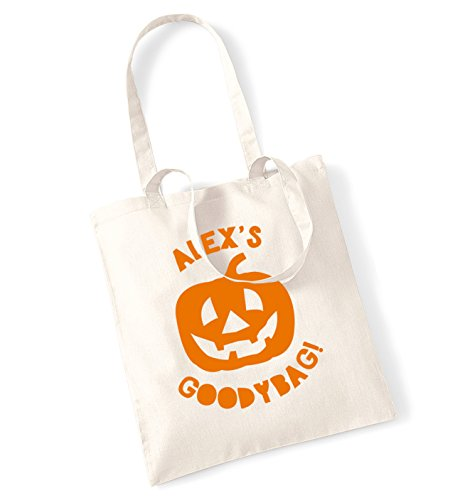Personalised halloween pumpkin goodybag tote bag
