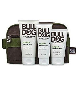 Bulldog Hautpflege Kit für Herren ~ Waschen Tasche ~ Original Moisturiser ~ Scrub ~ Waschen