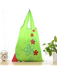 Designeez Hot Fashion Cute Strawberry Foldable Reusable Shopping Storage Bag Women Travel Grocery Bags Tote (Green)