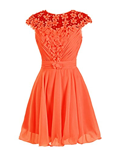 Dressystar Robe femme, Robe de mademoiselle d'honneur/ Robe de bal courte à fleur en mousseline,tulle Orange