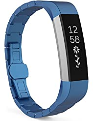 MoKo Fitbit Alta Correa - Reemplazo SmartWatch Band de Reloj de Acero Inoxidable Bracelete con Hebilla Mariposa Pulsera Accesorios para Fitbit Alta Smart Fitness Tracker, Azul