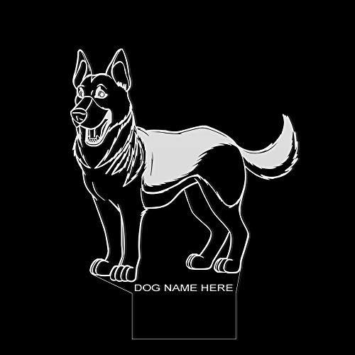 PTSHOP Deutscher Schäferhund Form entworfen Nachtlicht mehrfarbige Lampe 3D optische Täuschung Licht Wohnkultur Haustier Hund Welpe Tischlampe Custom Dog Name
