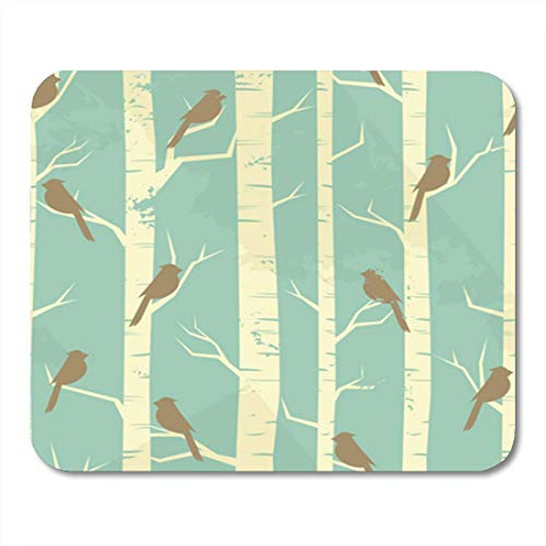 AOCCK Gaming Mauspads, Gaming Mouse Pad Blue Tree Birches and Birds in Vintage Pattern Birch Winter 11.8