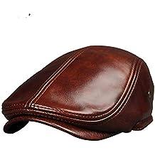 Chenyongping Gorro de Invierno Unisexs Headwear Gorra Plana de Cuero marrón Inglés Granddad Hat Newsboy Classic