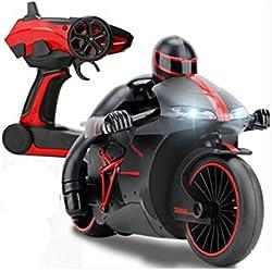 Hugine 4CH RC motocicleta 2.4G velocidad rápida 1:18 moto de control remoto con luces LED recargable coche eléctrico vehículo de juguete (Rojo)