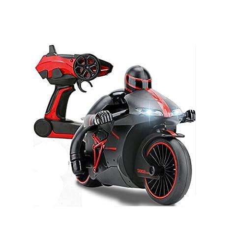 Hugine 4CH RC moto 2.4G vitesse rapide 1:18 télécommande moto avec LED phares rechargeable voiture électrique jouet voiture (Rouge)