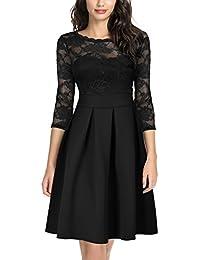 Miusol Damen Elegant Cocktailkleid Spitzen 3/4 Arm Vintage Kleid Brautjungfer 50er Jahr Abendkleid Schwarz Gr.S-XXL