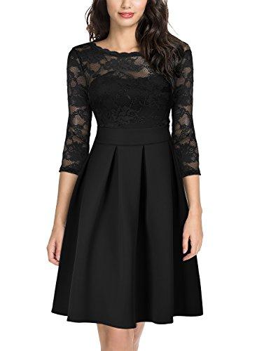 empire linie kleid Miusol Damen Elegant Cocktailkleid Spitzen 3/4 Arm Vintage Kleid Brautjungfer 50er Jahr Abendkleid Schwarz Gr.L