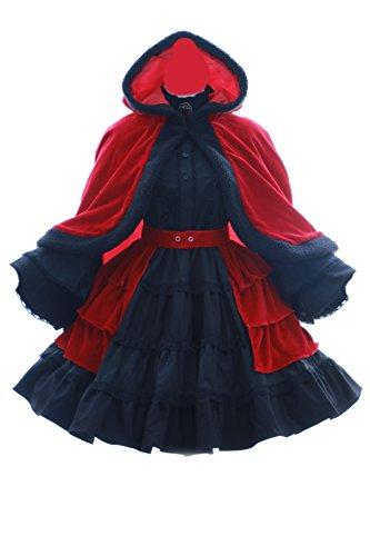 Cape Kleid Kostüm - Kawaii-Story JL-581 K Anna Kushina Rot schwarz Kostüm Kleid Cape Gothic Lolita Dress Cosplay (EUR Gr. S)