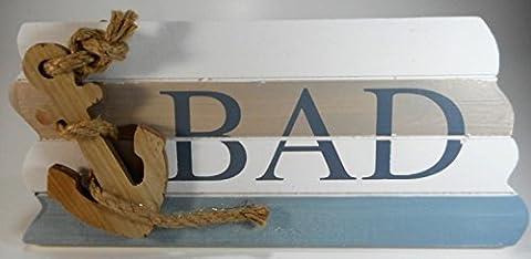 Bad Badezimmer Schild 28 cm Anker Beach Maritim Wohnen Deko