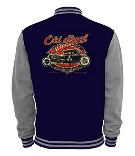 Ethno Designs Old School Gearhead - Motiv Rückenansicht - Hot Rod College Jacke für Damen und Herren - Old School Rockabilly - Navy/Sportsgrey, Größe XXL