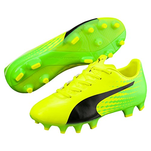 Puma Evospeed 17.4 Fg Jr, Scarpe da Calcio Unisex – Bambini, Giallo (Safety Yellow Black-Green Gecko 01), 29 EU