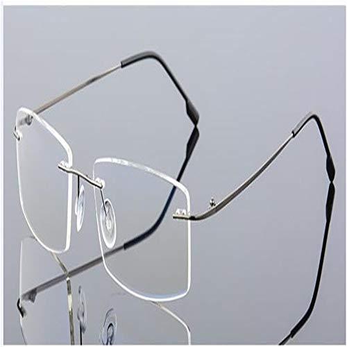 Randlose Computer Brille Männer Anti-Blau-Licht Brille Frauen Gaming Brillen Metallrahmen Anti UV Optische Falten Brillen (Frame Color : 3)