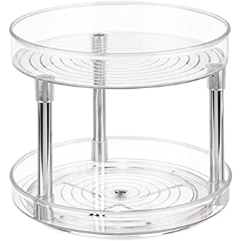 interdesign linus 2tier lazy susan turntable spice organizer for kitchen clearchrome 229 cm