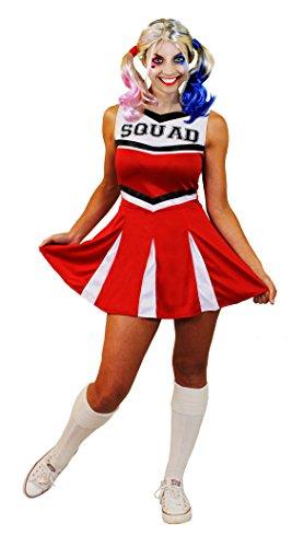 ILOVEFANCYDRESS SEXY Cheerleader KOSTÜM+PERÜCKE=Party+Film-FERNSEH VERKLEIDUNGEN=SUPER GANOVEN-SUPERHELDEN VERKLEIDUNG=IN 6 Farben+6 GRÖSSEN+Aufschrift Squad+PERÜCKE= ROT/ - Fernseh Kostüm