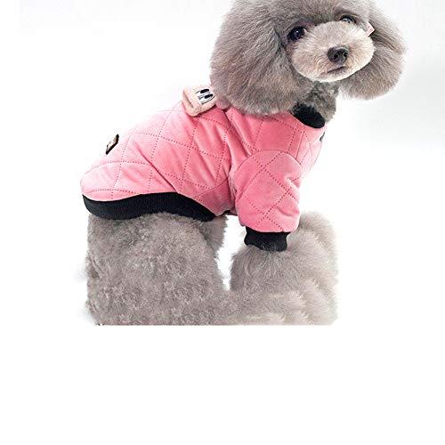 OFVV Haustier Kleidung Herbst Und Winter Lässig Warme Plaid Jacke Kleiner Hund Zwei-Bein-Baumwolle Mantel Hund Kleidung Schwarz,Pink,XL
