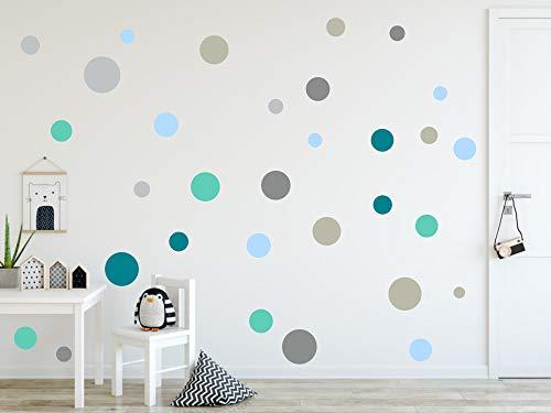 timalo® 120 Stück Wandtattoo Kinderzimmer Kreise Pastell Wandsticker - Aufkleber Punkte | 73078-SET9-120