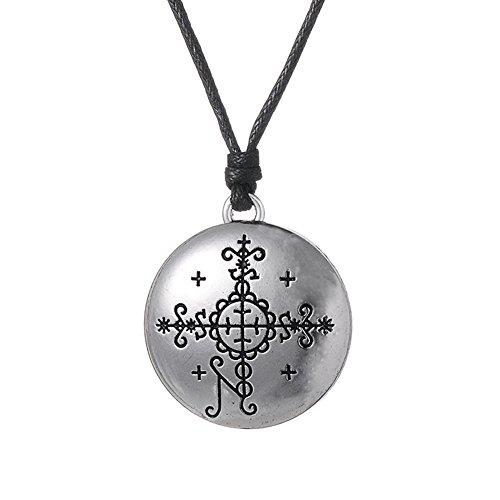 fishhook Collar con Colgante de talismán de Wicca Papa Simbio Voodoo Loa Veve