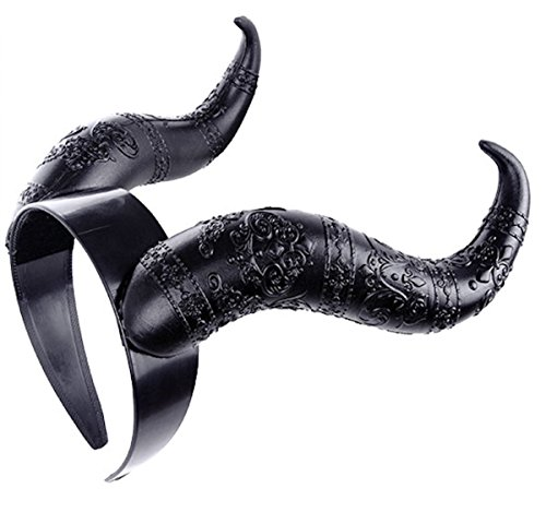 Gothic Hörner Kopfschmuck Maleficent Hut Restyle Haarreif WGT schwarz