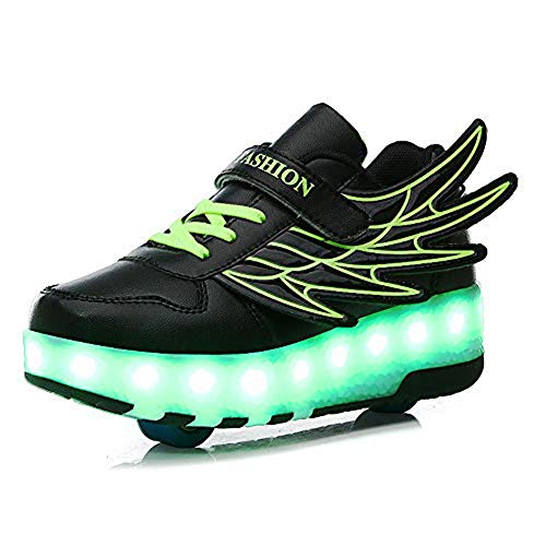SNOWWOLF Stilvolle Persönlichkeit Skates, LED-Beleuchtung Schuhe, Einzel- / Doppel-Outdoor-Rollschuhe, Halloween, Weihnachten, Kinder,C,33