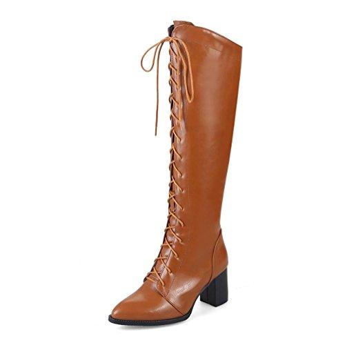 Ferse Damen Lace Up Stiefel (CYMIU Damen Punk Style Raue Ferse Knight Stiefel Hohe Tube Vordere Lace Up Große Größe Weibliche Stiefel 40-48 Stiefel Herbst Und Winter Künstliche Kurze Plüsch Spitz Schuhe Größe, 44)
