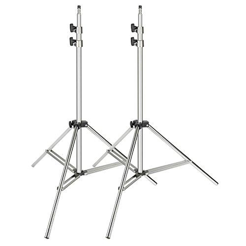 Neewer 2pz cavalletto in acciaio inossidabile 95-200cm richiudibile resistente supporto stand per softbox, ombrelli, luci stroboscopiche, riflettori & altri attrezzi da studio fotografico (argento)