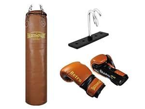 Profi Retro Box-Set inkl. Leder Boxsack 120 x 35cm gefüllt braun, PU Boxhandschuhe, Deckenhalterung und Vierpunkt-Stahlkette