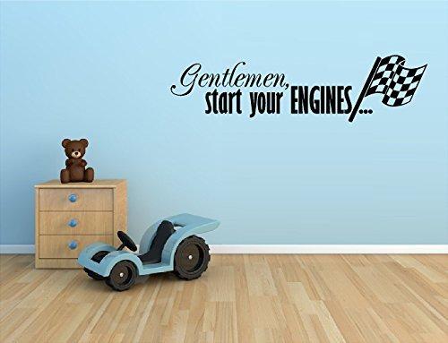 Gentleman Ihre Motoren beginnen mit Karierter Flagge Racing Rennwagen-Wand Vinyl Aufkleber Kinder Kinderzimmer Dekoration von Haus