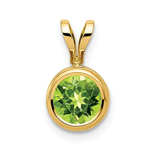 14k Yellow Gold 6mm Green Peridot Bezel Pendant Charm Necklace Gemstone Fine Jewellery Gifts For Women For Her