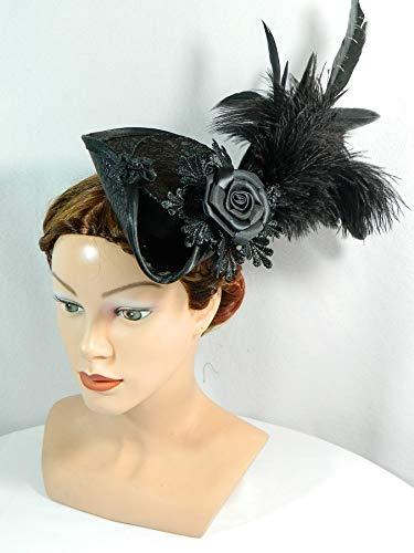 Mini Dreispitz schwarz Federschmuck Minihat Fascinator Haarschmuck Oktoberfest Damenhut