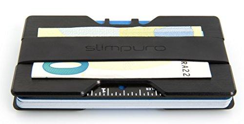 Premium Kreditkartenetui aus stabilem Aluminium mit Geldklammer - RFID & NFC Schutz - für bis zu 16 Scheckkarten - mit 2 Größen-Bänder inklusive - Geldbörse / Portemonee für Minimalisten Test