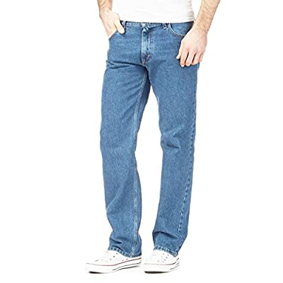 MyShoeStore Mens Original 100% Cotton Jeans Plain Straight Leg Heavy Duty Denim Wash Boys Jean Classic Designer Stretch Fit Casual Work Wear Zip Fly Belt Loop Pants Pocket Trosuers Sizes 30-50