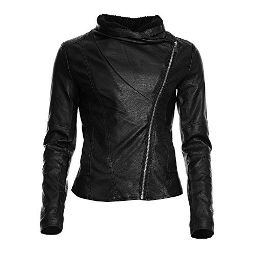 Mayaadi Damen Jacke in Lederoptik mit asymetrischem Reisßverschluß modischer Bikerstil Lederimitat Damen-Übergangsjacke 5A653 schwarz S