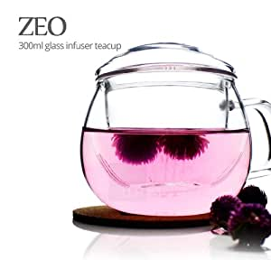 UNIHOM - ZEO 300ml 10oz Glass Infuser Tea Mug With Lid by Unihom