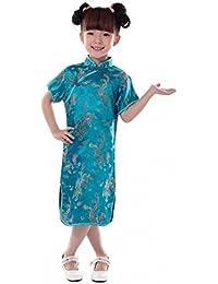 JTC Kids Girl Dragon Phoenix Chinese Qipao Dress Short Sleeves Cheongsam  6Colors da2675f34