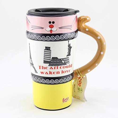 CJH Tasse De Chat Peint Tasse De Animal Mignon Avec Couvercle Avec Tasse À Café En Céramique Tasse De Couple