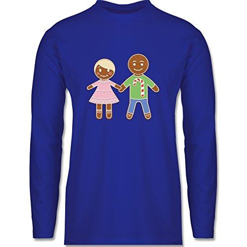 Weihnachten & Silvester - Lebkuchenmann und -frau - Longsleeve / langärmeliges T-Shirt für Herren Royalblau