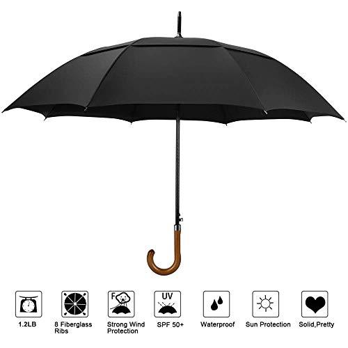 Golfschirm Stockschirm Herren Regenschirm groß, von YOLEO, 112cm Breite Klassischer Automatik Regenschirm mit Holzgriff Sturmfest Windfest Schirm aus Fiberglas
