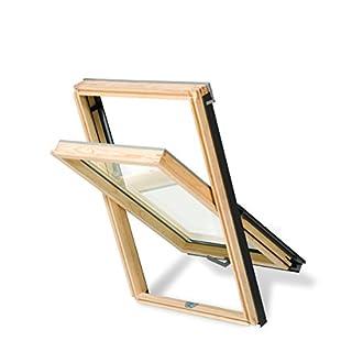 Aktion! Dachfenster Rooflite Core Schwingfenster aus Holz 78x118 mit Eindeckrahmen Altaterra wie Velux Kostenloser Versand