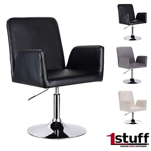 Designer Drehstuhl Drehsessel RETRO STUDIO von 1stuff - 46cm Sitzbreite - höhenverstellbar -hochwertiges Lederimitat -...