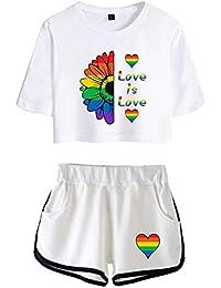 Love is Love LGBT Gay Lesbian Pride Mujer Conjunto de T-Shirt y Pantalones Cortos Niñas Cuello Redondo Camisetas de Manga Corta y Shorts Chándal de Deportiva para Yoga Fitness