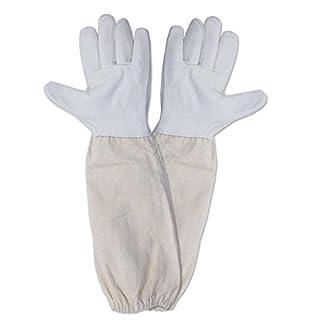 KINGLAKE Waterproof Beekeeping Gloves Goatskin, Leather Beekeeper Gloves for Men & Women, Large Beekeeping Protective Gloves Long with Vented Sleeves 14