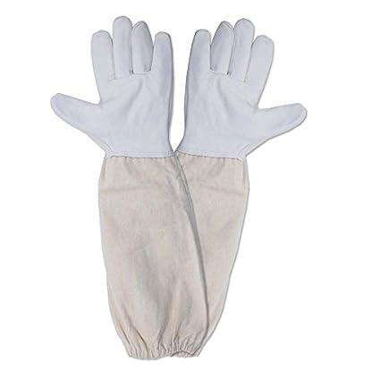 KINGLAKE Waterproof Beekeeping Gloves Goatskin, Leather Beekeeper Gloves for Men & Women, Large Beekeeping Protective Gloves Long with Vented Sleeves 1