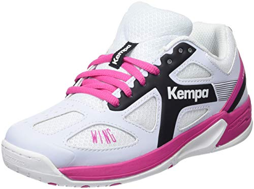 Kempa Unisex-Kinder Wing JUNIOR Handballschuhe, Weiß Blanc/Noir/Rose Fuchsia, 30 EU