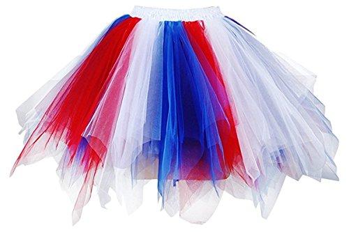 Honeystore Damen's Neuheiten Tutu Unterkleid Rock Ballet Petticoat Abschlussball Tanz Party Tutu Rock Abend Gelegenheit Zubehör Rot Weiß und Rötlich-Blau