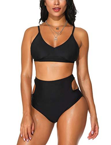 FeelinGirl Damen Sommer Badeanzug Tankini Nechholder Schlank und ElegantBeachwear Rückenfrei Bikini Strandmode Bademode Einteiler Swimsuit
